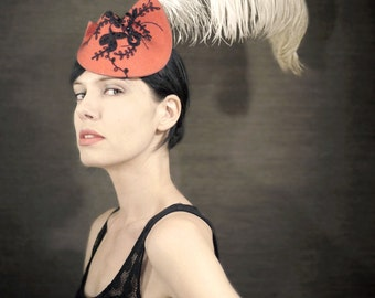 Sculptural Pink Felt Fascinator With Black Lace and Ostrich Feather - Can-Can Hat - Made to Order