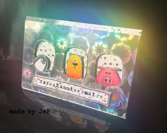 "card 3 friends ""happy birthday!"""