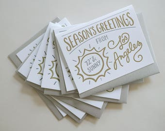 Season's Greetings from Los Angeles Cards. Holiday Cards. Boxed Set of 6 Letterpress Greeting Cards.