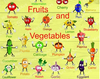 Fruit  Vegetable  Clip Art for Home Printing, 22 image in  JPEG, PNG and PDF formats . Colored images.