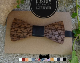 Wooden Bow Ties with triangles engraved, ribbon custom and text engraved