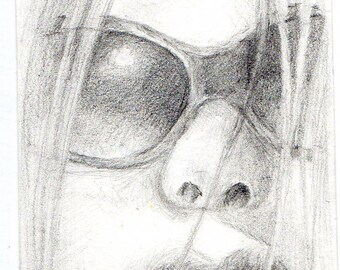 Girl in Sunglasses--original pencil drawing