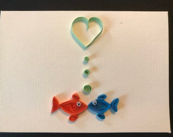 Quilled Kissing Fish Valentines Card