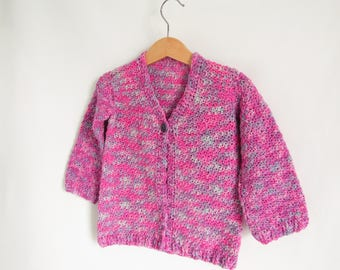 Pure wool pink cardigan for toddler - age 2 -3 years - pink and grey - New Zealand Polwarth wool - single button - ribbed cuff