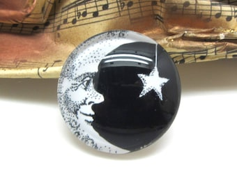 2 cabochons glass Moon smile Star Black 14 mm - 14 mm
