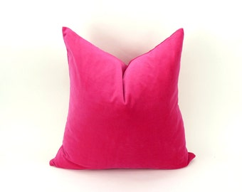 cerise pink velvet pillow case // hot pink velvet cushion cover // bright pink velvet pillow cover