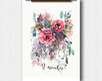 Floral Watercolor,December Month,Calendar art, bridal Shower,Pregnancy Announcement, Baby shower,Perpetual Month Calendar, Wedding keepsake