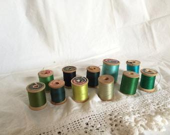 11 Spools of Vintage Thread, All Colors, Wooden Spools