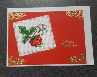 Cross Stitch Card, Best Wishes, Greeting Card, Strawberry, Handmade,