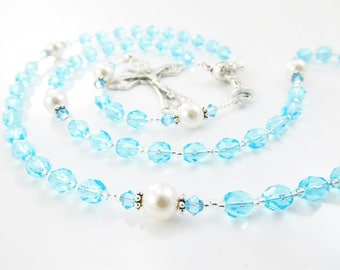 March Birthstone Aquamarine Blue Personalized Rosary - Baptism, First Communion, Confirmation