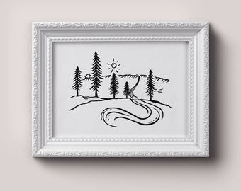 HIKE Print | Adventure, Wander, Travel, Cabin Decor, Outdoors, Pacific Northwest, Printable Art, Digital Download