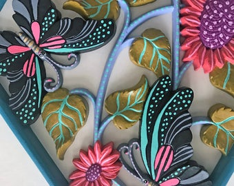 Flowers and Butterflies - hand painted found object wall art