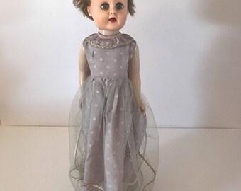 "Vtg 18"" Sweet Lou 1950's Doll Molded Circle X Markings Plastic Vinyl Sleep Eyes"