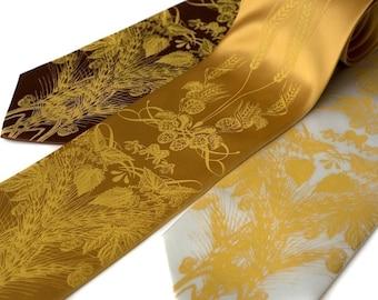 Beer tie. Hops, barley and wheat necktie. Screenprinted microfiber. Mustard ink. Standard width.