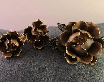 Vintage Set Brooch and Earrings, Floral Earrings, Floral Brooch,