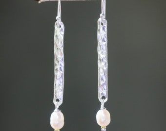 Sterling silver bar earrings with hammer textured and white freshwater pearls beads on silver hooks style