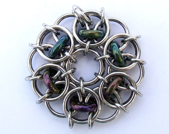 Chain Maille Pendant, Glass Pendant, Green Pendant, Iris Green Glass and Stainless Steel Pendant