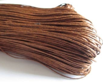 10 meters cotton chocolate brown waxed thread 1 mm