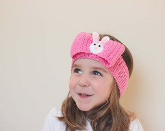 Sale/ Ready to Ship/ Bunny Headband/ Bunny Bow/ Crocheted Bunny Headband/ Easter Bow/ Easter Headband/ Bunny/ Girls Bow/
