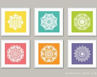 Mandala Art Prints - Modern Medallion Wall Art - Custom Colors
