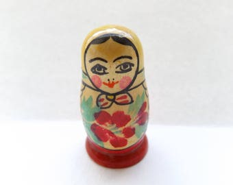 Lovely Vintage Miniature Hand Painted Russian Doll Babushka Matryoshka.