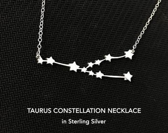Taurus Constellation Necklace, Zodiac Necklace, Gift For Women, Mom Gift, Daughter Gift, Friend Gift, Horoscope, Zodiac Gift, Taurus