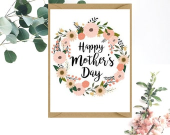 Happy Mother's Day Card | Floral Wreath Happy Mother's Day Card | Card for Mother | Card for Mum | Card for Grandma