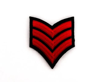 """Tattoo Patch - Red Army Badge - Iron-on Badge - Embroidery - Army Military Patches - Size 3.25"""" x 2.75"""" (P121)"""