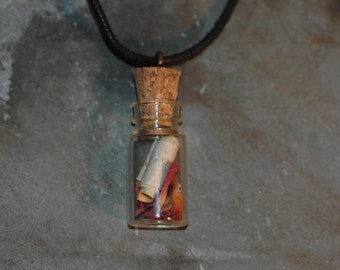 Rose Petal Necklace - Wedding gift - Glass Jewelry - Valentine gift - Flower Necklace - love message on Silver Birch Bark.