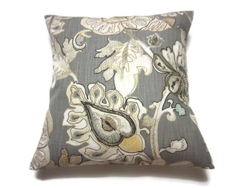 Decorative Pillow Cover Bold Floral Design Gray Ivory Tan Yellow Blue Same Fabric Front/Back Throw Accent 18x18 inch x