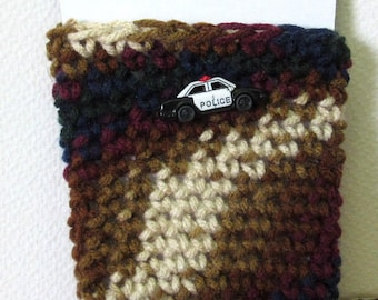 Insulated Brown Coffee Cup Cover Cozi Cozy Fits Starbucks Grande or Venti Size Hot or Cold Cups Crochet Police Car Button on Top Stretchy