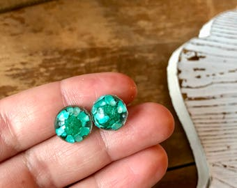 real mint wildflower stud earrings, gift for her