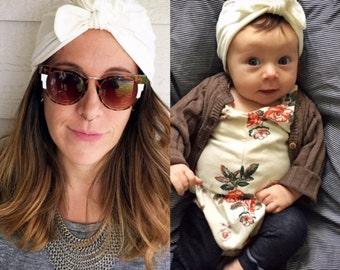 Cream Turban hat Mommy & Me set