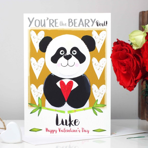 Panda Valentines Card, Personalised You're the Beary Best cute Valentine