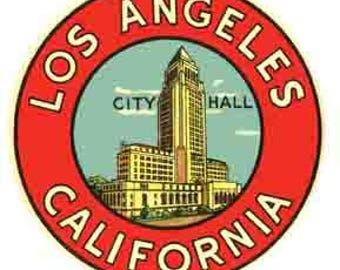 Vintage Style Los Angeles City Hall California  Travel Decal sticker