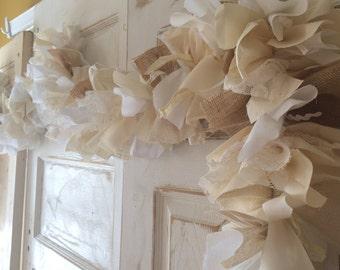 Burlap Wedding Idea: Burlap Wedding Garland. Handmade Shabby Chic Wedding decoration, 6-10 ft Rustic Wedding or Shower Burlap Backdrop