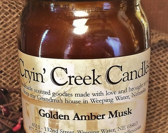 Golden Amber Musk Large Cotton Wick Candle