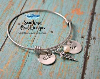 personalized nurse bracelet, hand stamped nurse bracelet, sterling silver nurse bracelet, nurse bangle bracelet, nurse gift, doctor bracelet