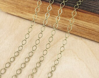 Antique Brass 4x3mm Flat Oval Chain - 5 feet or 10 feet - Antique Brass Finish - Soldered Links - Nickel Free