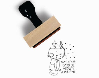 May Your Days Be Meow|y & Bright Stamp | Meowy Cat Reindeer Kitten Holiday | White Christmas Craft DIY | Rubber Stamp by Creatiate | BN1