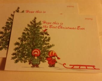 Vintage Greeting Card - Christmas Postcard - Children Picking out a Christmas Tree - 2 postcards