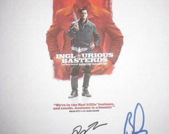 Inglourious Basterds Signed Movie Film Screenplay Script X2 Brad Pitt Quentin Tarantino autograph signatures