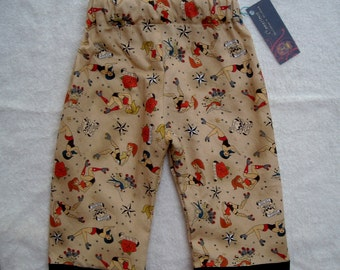 On Sale  Punk Rock Rockabilly ORGANIC Roller Derby Baby Girls Boy Pants Size 6m READY to SHIP