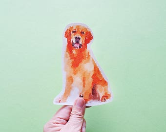 Golden Retriever Big Individual WATERPROOF Sticker - Vinyl Stickers -Handmade Stickers