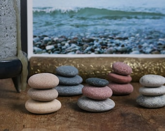 Tiny Stone Cairn - Meditation Altar - Small Flat Pebbles - Zen Balance Stones - Fairy Garden - Stocking Stuffer - Gift Wrapping