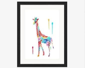 Rainbow Giraffe Pattern Animal Print - Wall Decor - Original Wall Painting Art