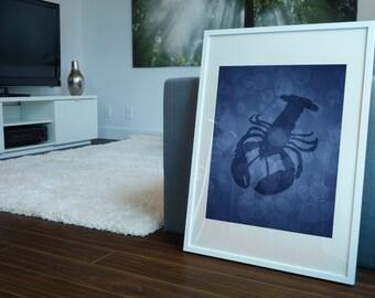 Lobster Print, Lobster Art, Nautical Decor, Nautical Print, Artwork Gifts, Illustration, Beach House Bathroom Decor, Home Wall Decor, 8 X 10