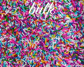 Bulk 2lbs (910g/4 cups) Crunchy Rainbow Sprinkles, Gluten-Free, Vegan, Kosher, Jimmies, Skinny Sprinkles, Canadian Sprinkles