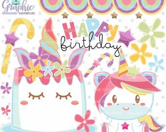 Unicorn Clipart, Unicorn Graphic, COMMERCIAL USE, Birthday Clipart, Unicorn Party, Cake Clipart, Happy Birthday Clipart, Unicorn