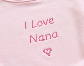 Personalized Pink Baby Bib 100% Organic Thick and Soft Cotton